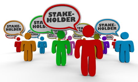 Stakeholders People Speech Bubbles Leden 3d illustratie Stockfoto