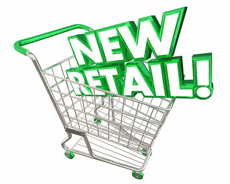 consumerism: New Retail Commerce Shopping Cart Words 3d Illustration Stock Photo