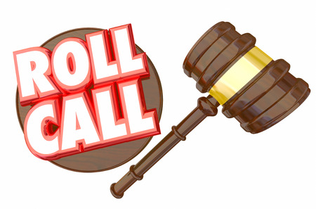 Roll Call Gavel Vote Members Voting Attendance 3d Illustration