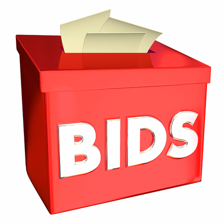 Bids Collecting Vendor Contractor Supplier Pricing Box 3d Illustration