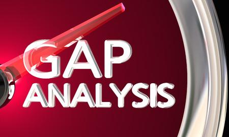 ギャップ分析事業会社不足分測定 3 d イラストレーション