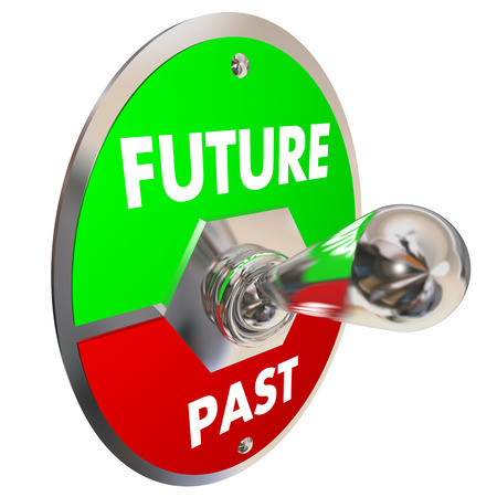 Future Vs Past Toggle Switch Yesterday Today Tomorrow 3d Illustration Imagens