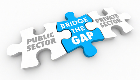 Bridge Gap Tussen Public Private Sectors Puzzle Pieces 3D Illustratie