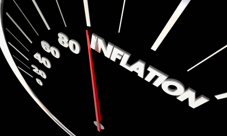 word: Inflation Rising Prices Speedometer Tracking Higher Costs 3d Illustration