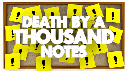 Death By a Thousand Sticky Notes Overwhelmed 3d Illustration