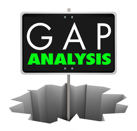 Gap Analysis Sign Hole Analyze Business Shortfall 3d Illustration Stock fotó - 82550532
