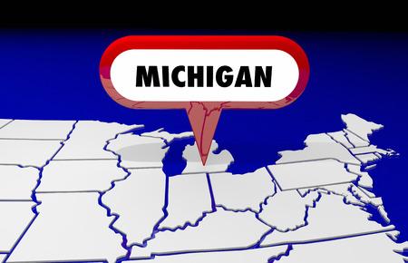 map pin: Michigan MI State Map Pin Location Destination 3d Illustration Stock Photo