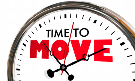 Time to Move Relocate Get Moving Clock Hands Ticking 3d Illustration