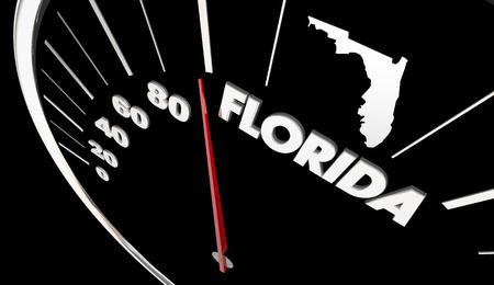 fl: Florida FL State Speedometer Destination Best Location 3d Illustration