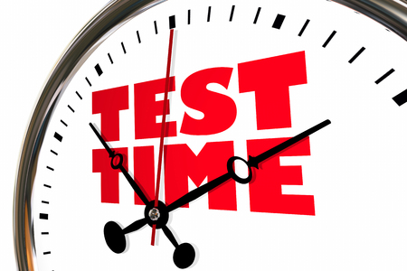 Test Time Exam Testing Examination Clock Hands Ticking 3d Illustration Stock Photo