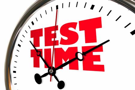 Test Time Exam Testing Examination Clock Hands Ticking 3d Illustration Stock Photo