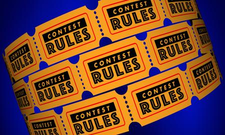 경연 대회 규칙 요구 사항 티켓 3D 일러스트레이션