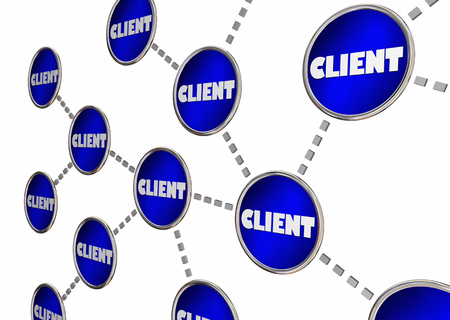 shared sharing: Client Referrals Grow Business Connected Circle Network 3d Illustration