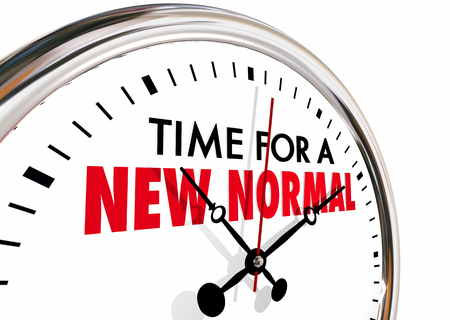 Time for a New Normal Change Clock Hands Ticking 3d Illustration.jpg Stock Photo