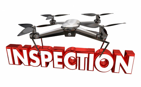 Inspection Property Inspecting Drone Flying Carrying Word 3d Illustration Stock Photo