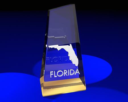 Florida FL State Award Best Top Prize 3d Illustration