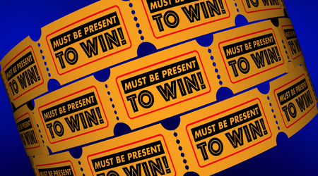 be: Must Be Present to Win Contest Rule Tickets 3d Illustration Stock Photo