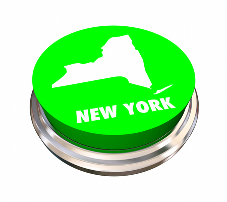 New York NY State Button Best Location Choice 3d Illustration