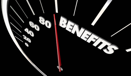 Benefits Features Compensation Speedometer Measure Results 3d Illustration