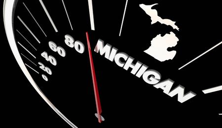 accelerated: Michigan MI State Speedometer Destination Best Location 3d Illustration