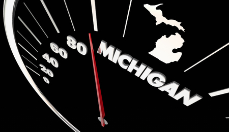 Michigan MI State Speedometer Destination Best Location 3d Illustration