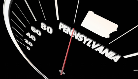 Pennsylvania PA State Speedometer Destination Best Location 3d Illustration
