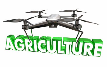 technology: Agriculture Farming Drone Flying Carrying Word 3d Illustration Stock Photo