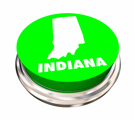 Indiana IN State Button Best Location Choice 3d Illustration