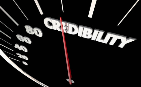 Credibility Trust Reliability Speedometer Measure Results 3d Illustration Фото со стока