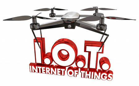 word: IOT Internet of Things Drone Flying Carrying Words 3d Illustration