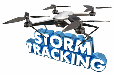 breaking: Storm Tracking Weather Report Drone Flying Carrying Words 3d Illustration