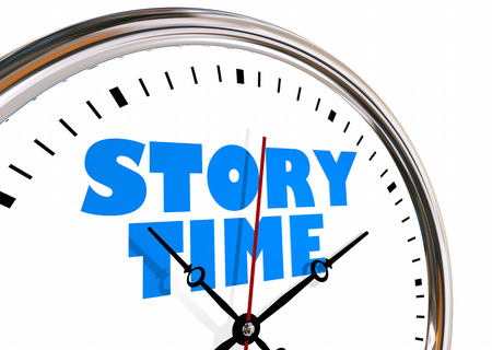 Story Time Storytelling Narrative Clock Hands Ticking 3d Illustration Stock Photo