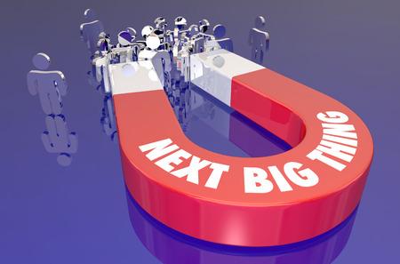 다음 Big Thing Hot Trend 제품 자석 고객 유치 고객 3D 일러스트레이션 스톡 콘텐츠