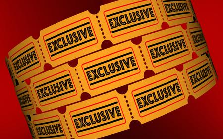 독점 특별 행사 콘텐츠 프리미엄 티켓 3d 일러스트레이션 스톡 콘텐츠