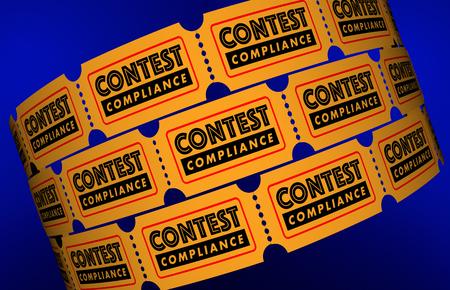 Contest Compliance Law Regulations Tickets 3d Illustration Stock fotó