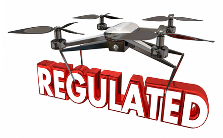 Regulated Airspace Regulation Drone Flying Carrying Word 3d Illustration Imagens - 83928370