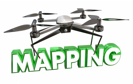 navigating: Mapping Aerial Video Photography Drone Flying Carrying Word 3d Illustration Stock Photo
