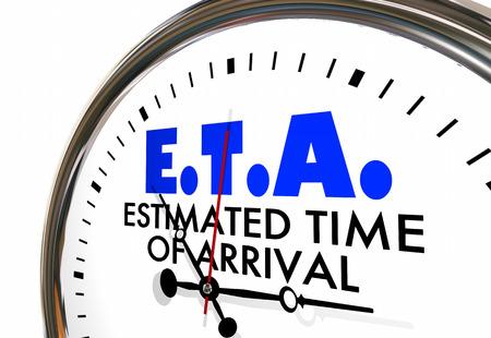 ETA Estimated Time of Arrival Clock Hands Ticking 3d Illustration Stock Photo