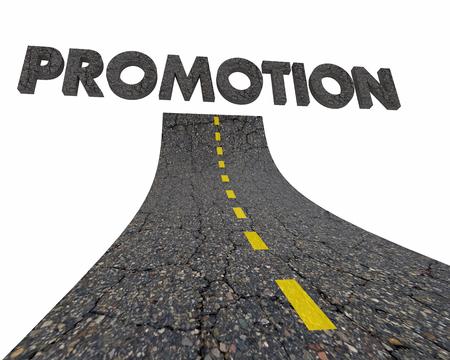 Promotion New Job Career Road Word 3d Illustration Фото со стока