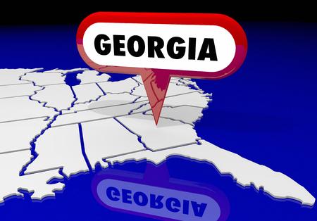 ジョージア ジョージア州マップ ピン場所先 3 d イラストレーション