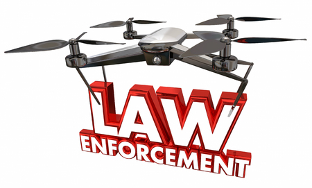 enforcing: Law Enforcement Crime Prevention Security Drone Flying Carrying Words 3d Illustration Stock Photo