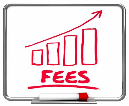 Vergoedingen Boetes Service Charges Arrow Rising Trend 3D Illustratie