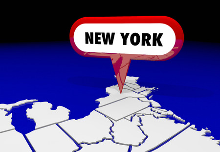 spot: New York NY State Map Pin Location Destination 3d Illustration