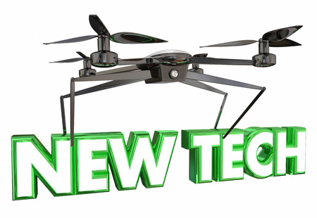 New Technology Drone Flying Carrying Words 3d Illustration