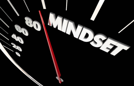 accelerating: Mindset Attitude Vision Passion Speedometer Measure Results 3d Illustration Stock Photo