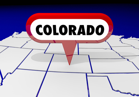 spot: Colorado CO  State Map Pin Location Destination 3d Illustration