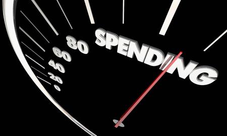 支出費用予算スピード メーター測定結果の 3 d 図 写真素材