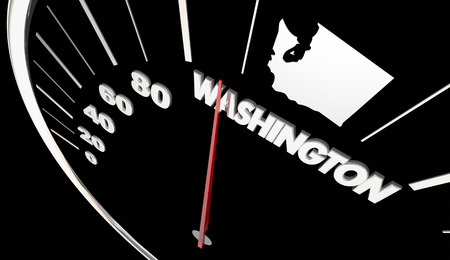 Washington WA State Speedometer Destination Best Location 3d Illustration