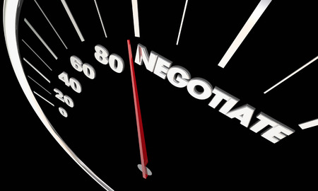 Negotiate Agreement Negotiation Speedometer Measure Results 3d Illustration