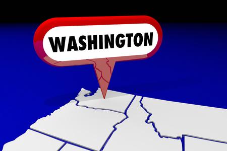 Washington WA State Map Pin Location Destination 3d Illustration